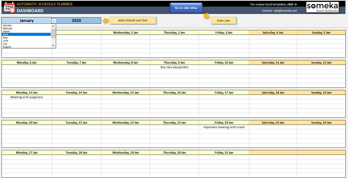 Automatic Schedule Planner Job List To Calendar In Excel