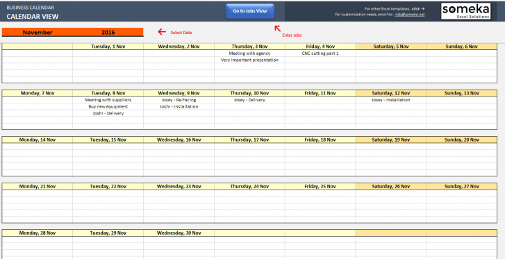 Automatic Schedule Planner - Someka Excel Solutions SS5