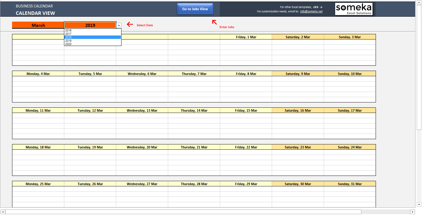 Automatic Schedule Planner - Someka SS11