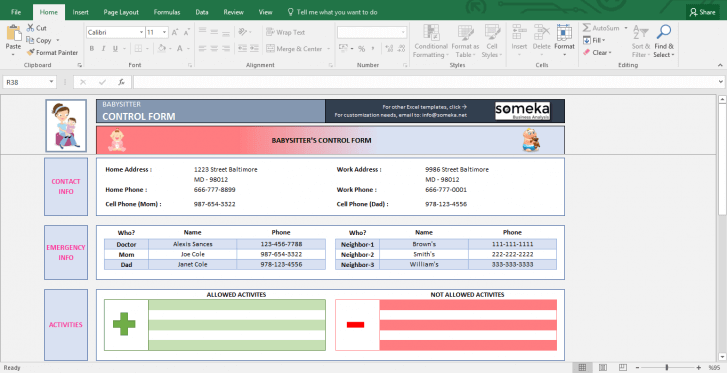 Baby Information Sheet for Babysitter - Printable Excel Form - Template Screenshot Image 1 - Someka