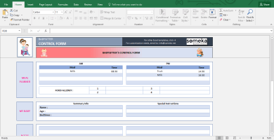 Baby Information Sheet For Babysitter - Printable Excel Form - Template Screenshot Image 2 - Someka