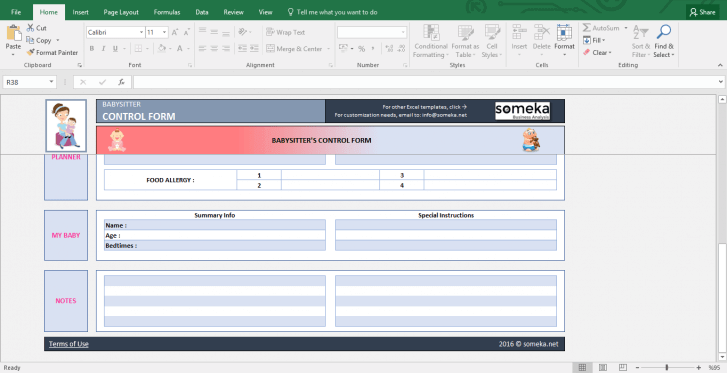Baby Information Sheet for Babysitter - Printable Excel Form - Template Screenshot Image 3 - Someka
