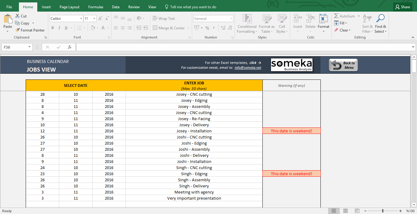 Calendar Planner Maker : Automatic calendar maker from excel list spreadsheet