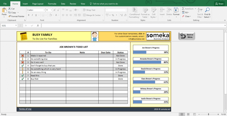 Family To Do List - Printable Checklist Template in Excel - Template Screenshot Image 2 - Someka