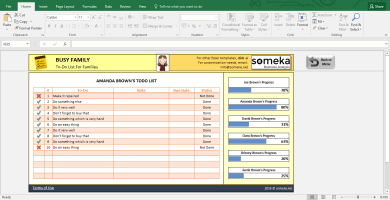 Family To Do List - Printable Checklist Template In Excel - Template Screenshot Image 3 - Someka