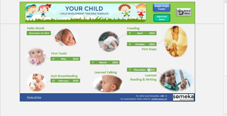 Child Development Tracker - Someka SS11