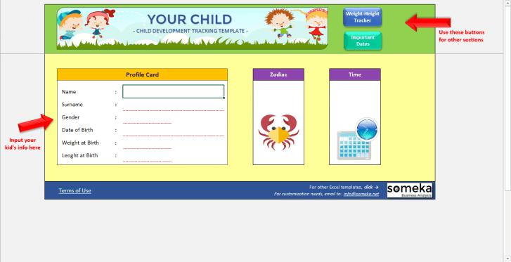 Child Development Tracker - Someka SS12