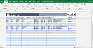 contact list template printable spreadsheet free download