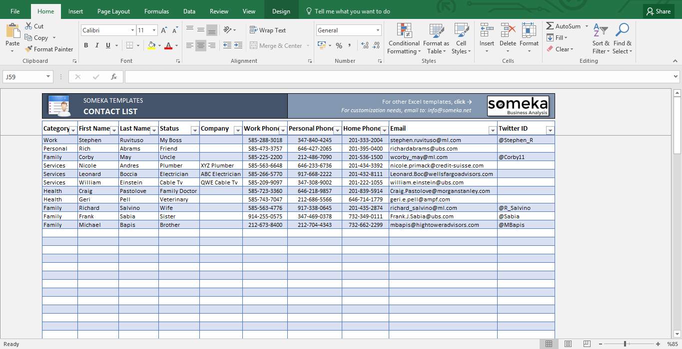 Contact List Template - Printable Excel Spreadsheet | Free Download