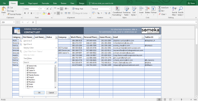 Contact List Template - Free Printable Spreadsheet - Template Screenshot Image 2 - Someka