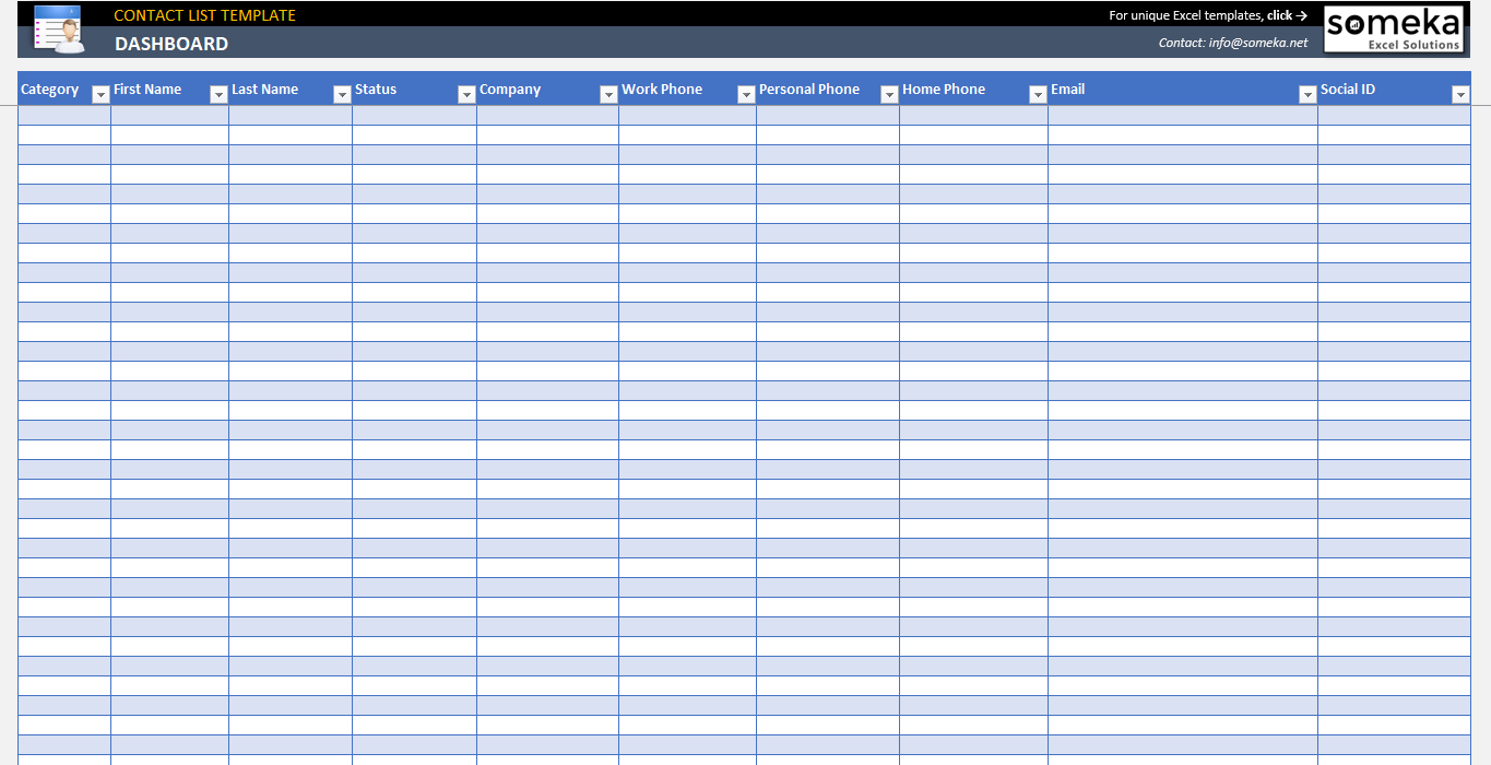 Excel Contact List Template | Contact Database Template
