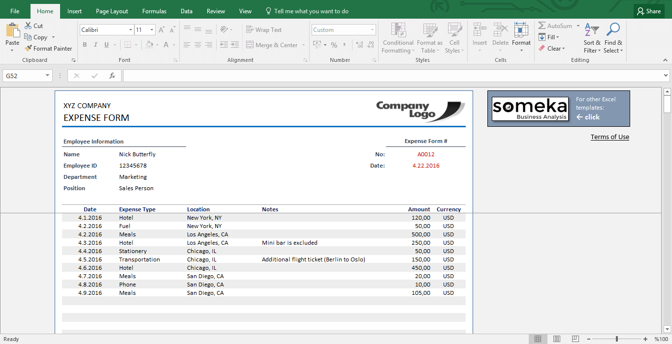Reimbursement Form in Excel | Expense Form for Employees