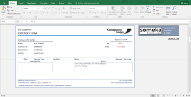 Reimbursement Form - Free Expense Template For Employees - Template Screenshot Image 2 - Someka