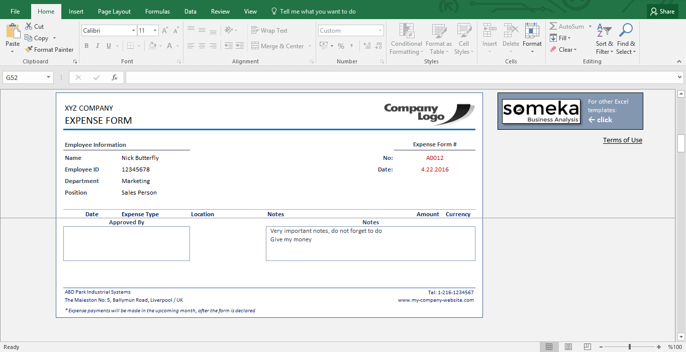 Reimbursement Form - Free Expense Template for Employees