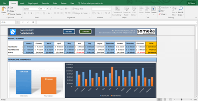 Family Budget - Excel Budget Template for Household - Template Screenshot Image 1 - Someka