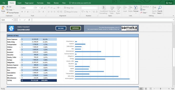 Family Budget - Excel Budget Template for Household - Template Screenshot Image 2 - Someka