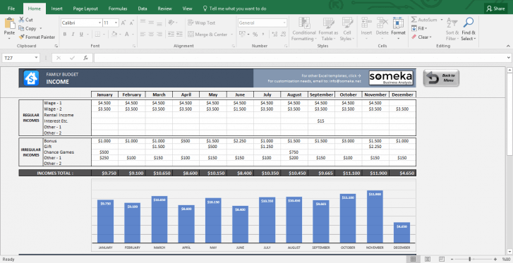 Family Budget - Excel Budget Template for Household - Template Screenshot Image 4 - Someka