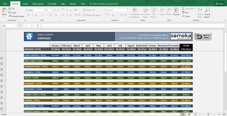 Family Budget - Excel Budget Template for Household - Template Screenshot Image 5 - Someka
