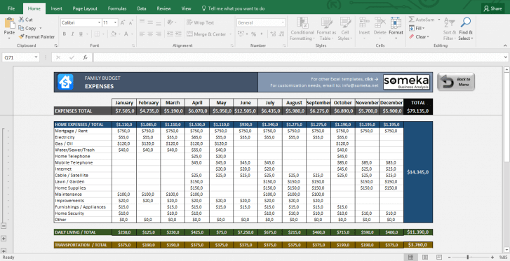 Family Budget - Excel Budget Template for Household - Template Screenshot Image 6 - Someka