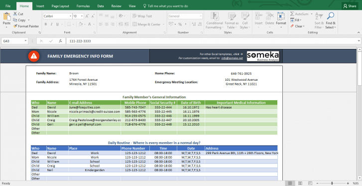 Emergency Contact Form - Free Excel Spreadsheet Template - Template Screenshot Image 1 - Someka