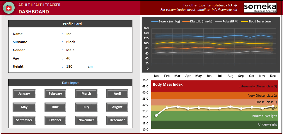HEALTH TRACKING KIT FOR ADULTS - Dashboard - Someka Excel Templates