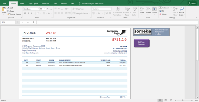 Invoice Template - Excel Template for Small Business - Template Screenshot Image 1 - Someka