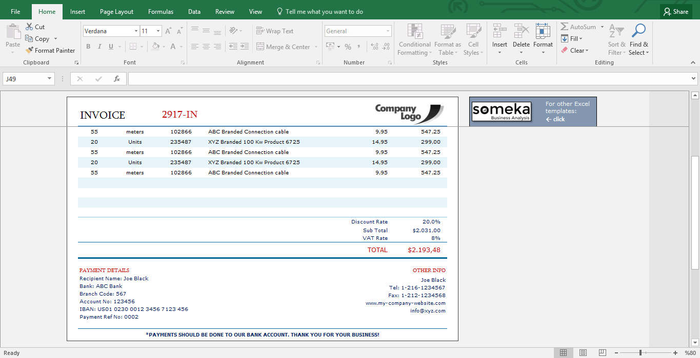 invoice template excel template for small business