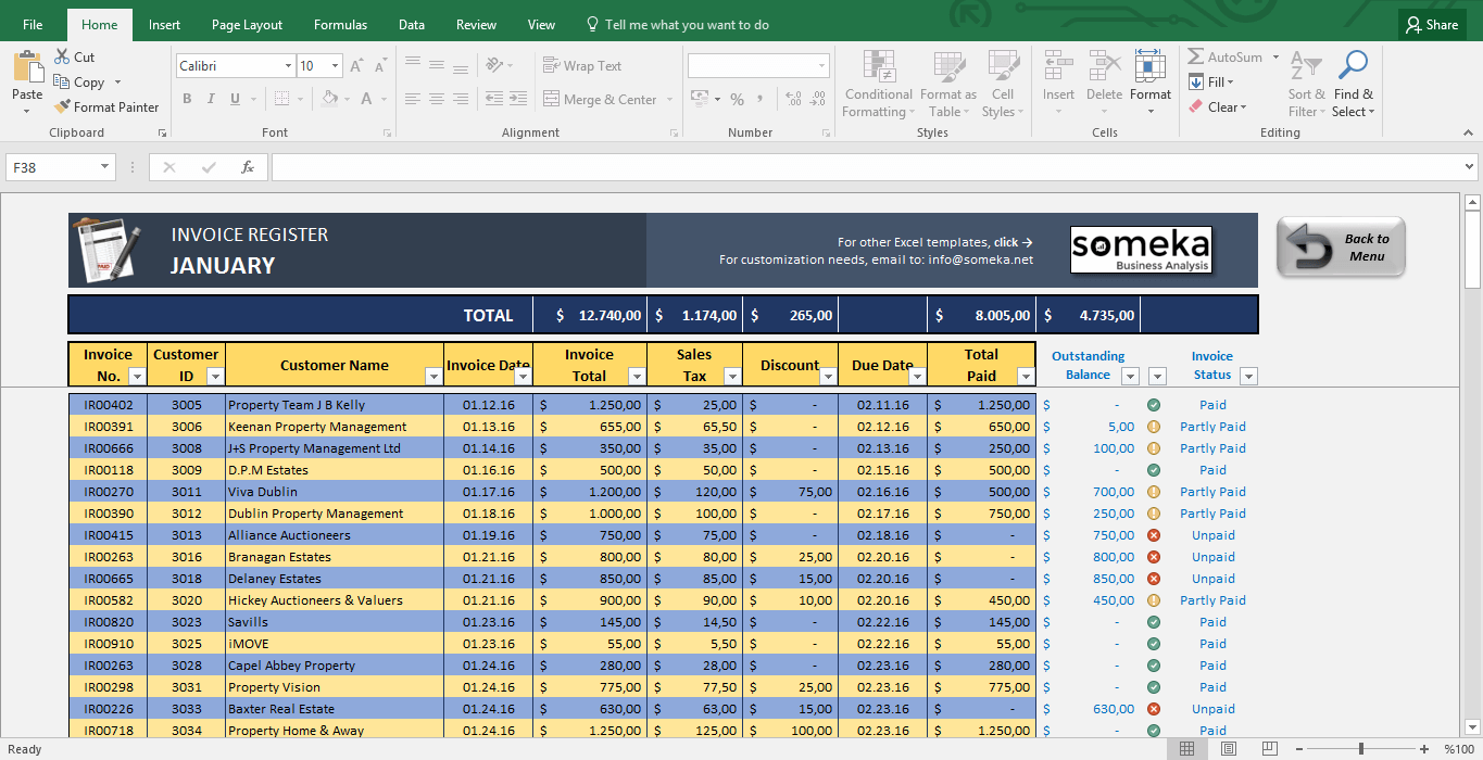 Invoice Tracker Free Excel Template For Small Business