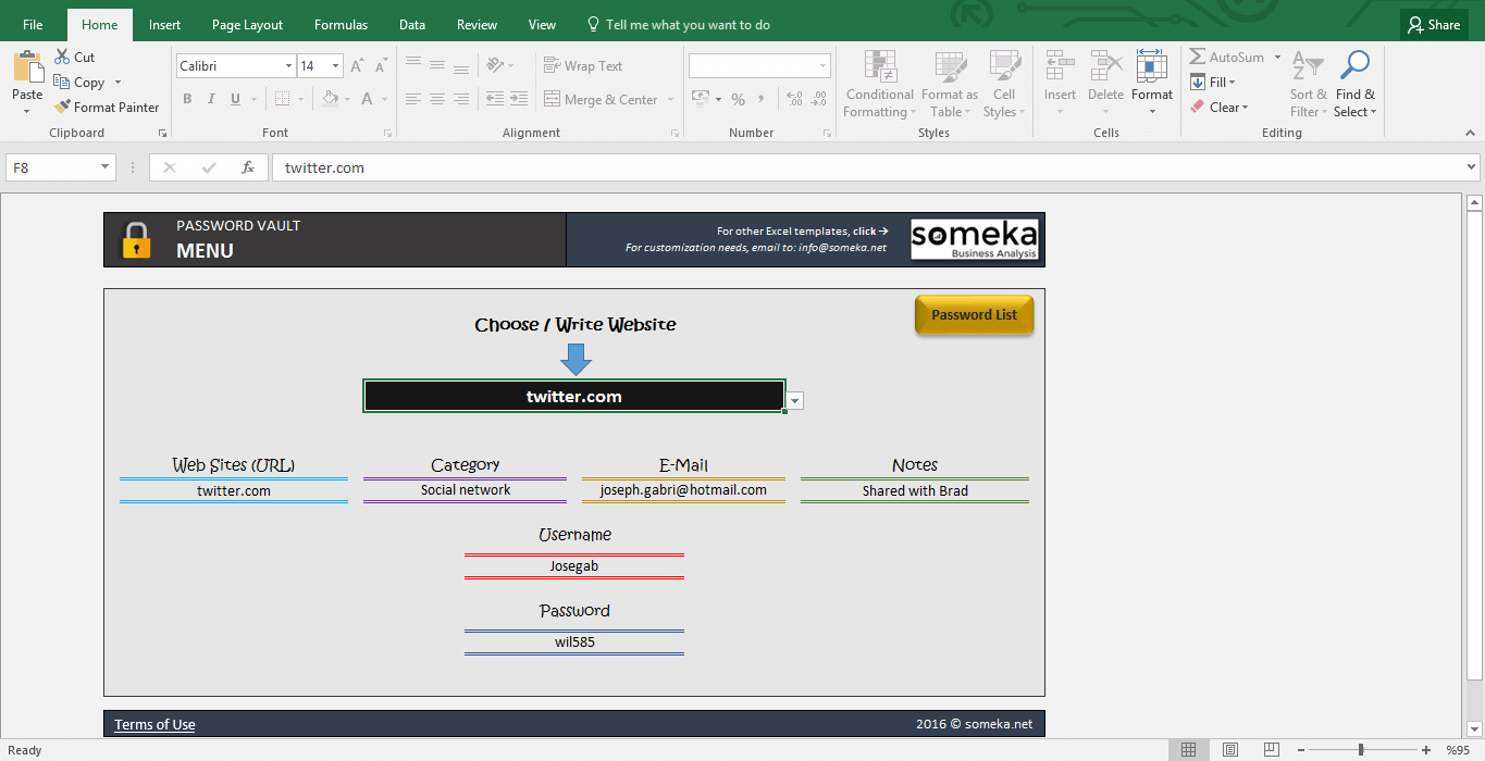 Password List Template - Free Password Keeper in Excel - Template Screenshot Image 1 - Someka