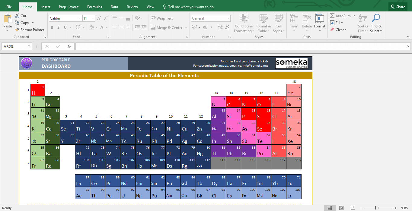 Periodic Table Excel Template 1