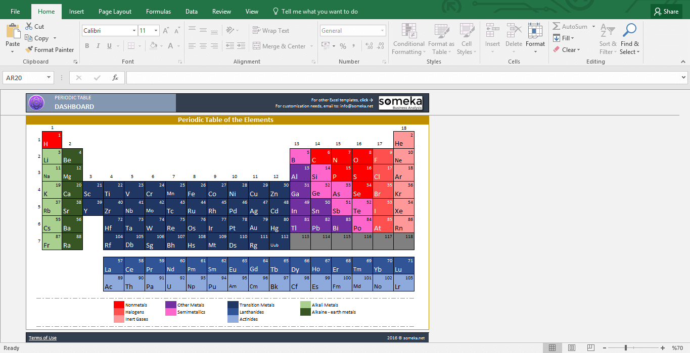 Periodic Table Worksheet - Printable Excel Template - Template Screenshot Image 2 - Someka