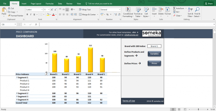 Price Comparison Tool: Excel Template for Competitive Analysis - Template Screenshot Image 1 - Someka