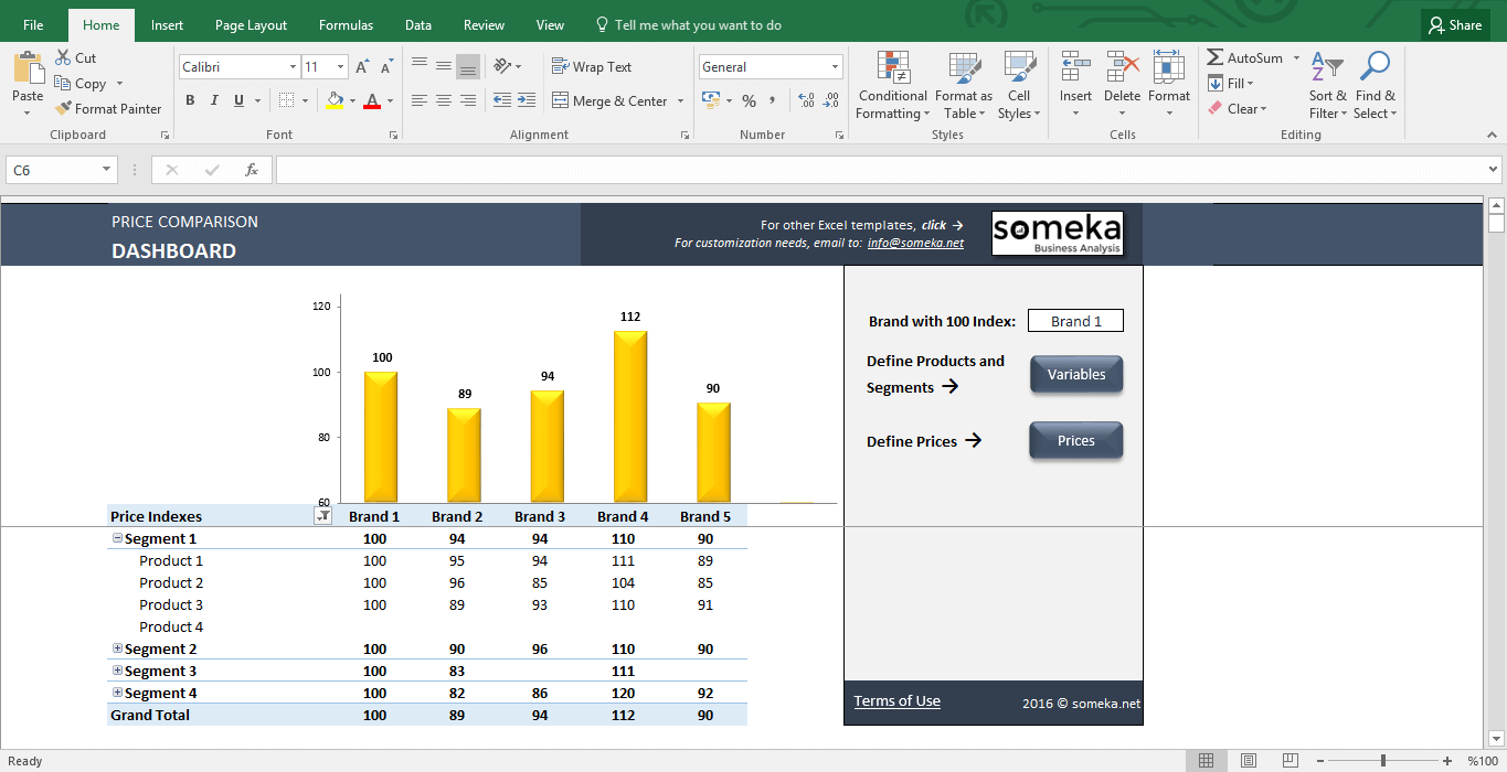 Price Comparison Tool: Excel Template For Competitive Analysis   Template  Screenshot Image 1   Someka  Competitive Analysis Templates