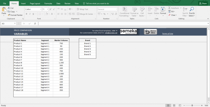 Price Comparison Tool: Excel Template for Competitive Analysis - Template Screenshot Image 2 - Someka