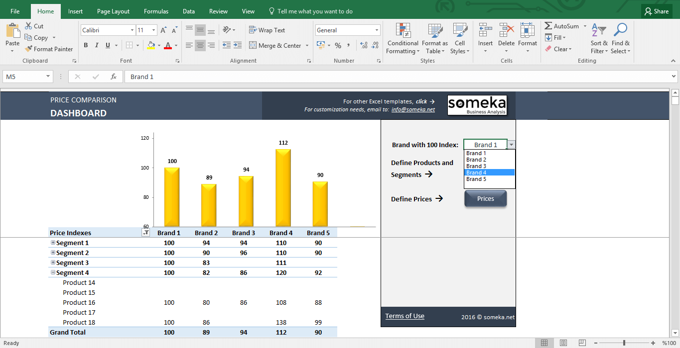 Price Comparison Tool: Excel Template for Competitive Analysis - Template Screenshot Image 4 - Someka