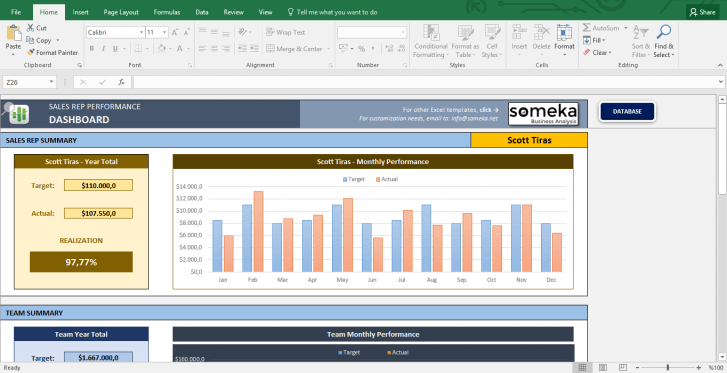 Salesman Performance Tracking - Excel Template - Template Screenshot Image 1 - Someka