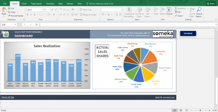 Salesman Performance Tracking - Excel Template - Template Screenshot Image 3 - Someka