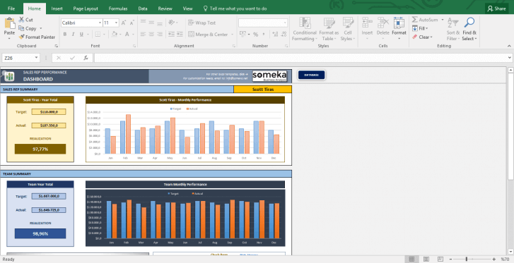 Salesman Performance Tracking - Excel Template - Template Screenshot Image 4 - Someka
