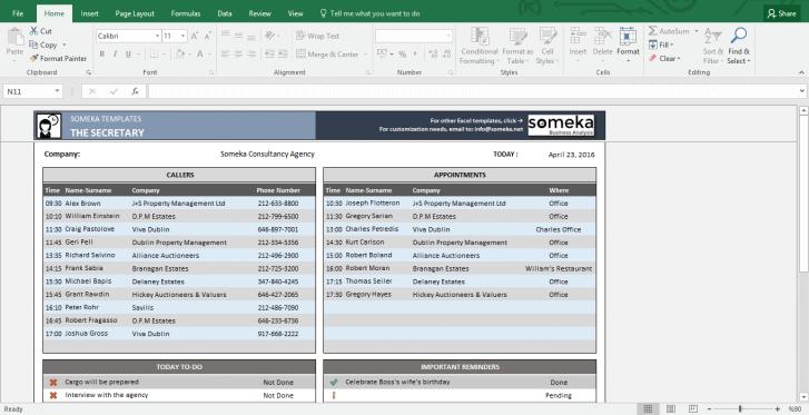 Assistant Checklist - Free Printable Spreadsheet - Template Screenshot Image 1 - Someka