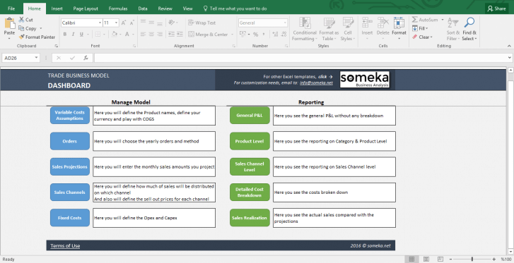 Trade Business Model - Feasibility Study Template in Excel - Template Screenshot Image 1 - Someka
