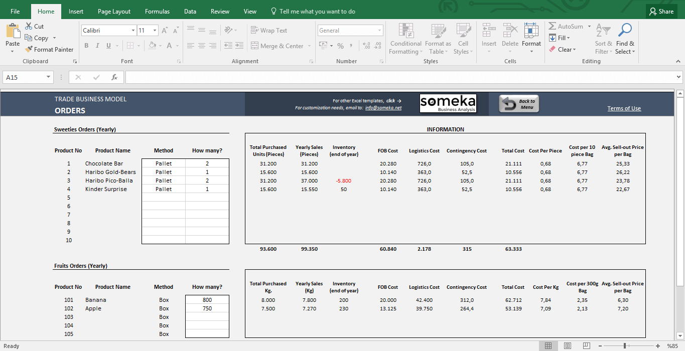 Trade Business Model - Feasibility Study Template in Excel - Template Screenshot Image 3 - Someka