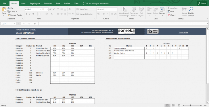 Trade Business Model - Feasibility Study Template in Excel - Template Screenshot Image 5 - Someka