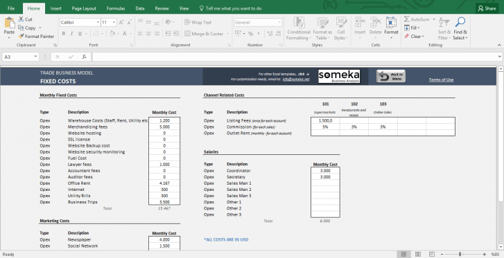 Trade Business Model - Feasibility Study Template in Excel - Template Screenshot Image 6 - Someka