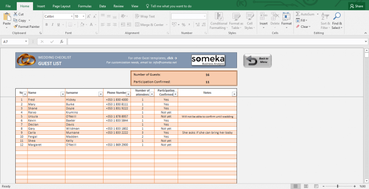 Wedding Checklist - Excel Template for Wedding Planning - Template Screenshot Image 4 - Someka