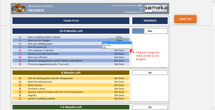 Wedding Checklist - Someka SS11