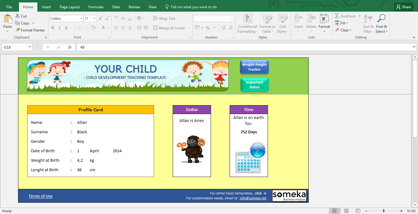 Child Development Tracker - BMI Calculator for Kids - Template Screenshot Image 1 - Someka