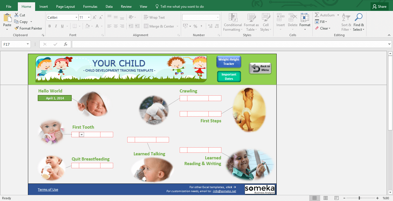 Child Development Tracker - BMI Calculator for Kids - Template Screenshot Image 3 - Someka