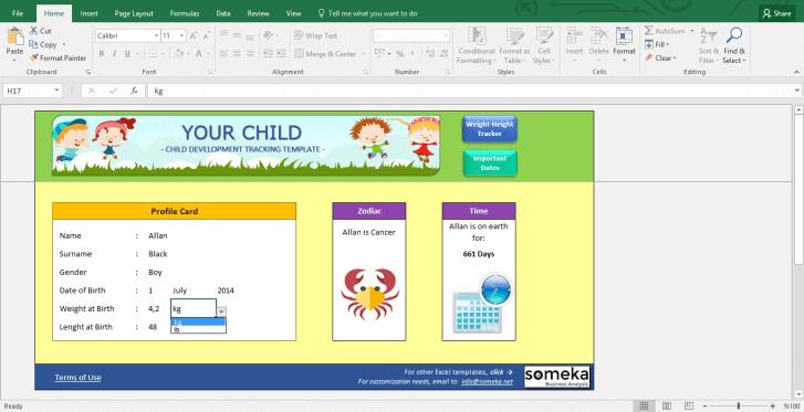Child Development Tracker - BMI Calculator for Kids - Template Screenshot Image 4 - Someka