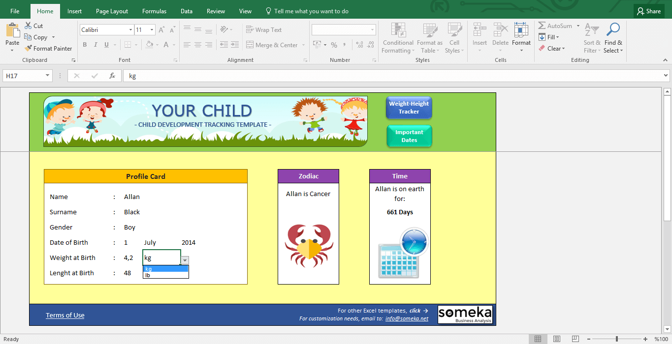 Child Development Tracker - BMI Calculator for Kids - Template Screenshot Image 4 - Someka