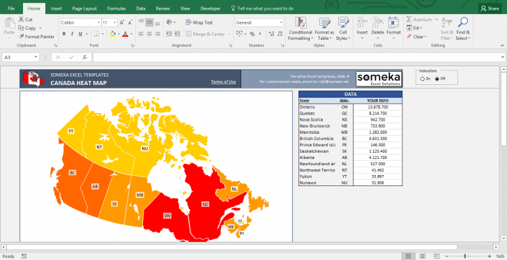 Canada Heat Map Excel Template - Heat Map Generator - Template Screenshot Image 3 - Someka